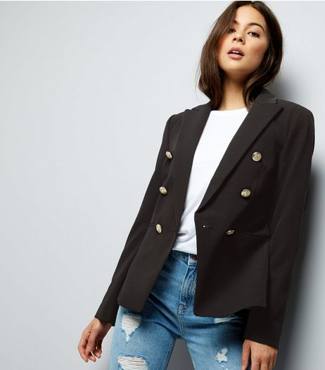 Black Button Front Military Blazer  | New Look