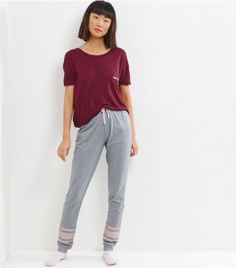 Tall Burgundy Feeling Lazy Pyjama Set | New Look
