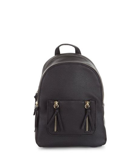Black Zip Pocket Mini Backpack | New Look