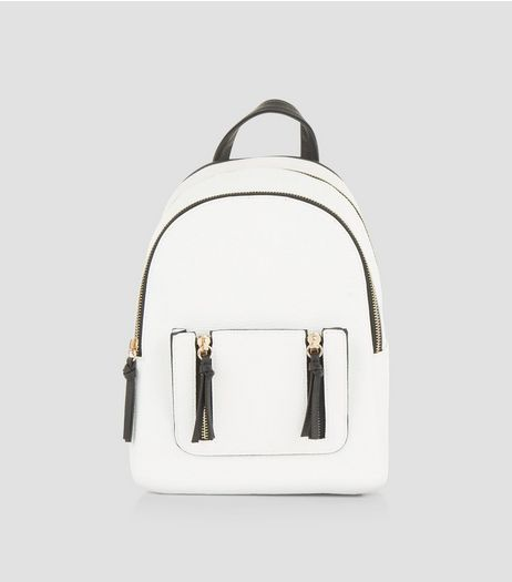 White Zip Trim Mini Curved Backpack  | New Look