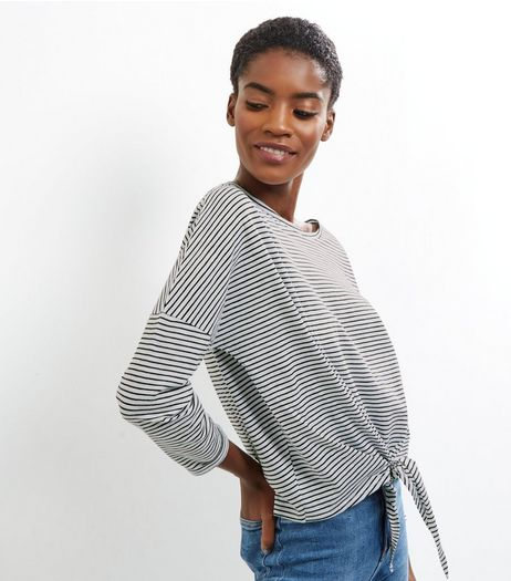 White Stripe Print Tie Front Top | New Look