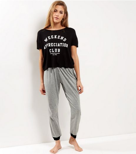 Petite Black Weekend Appreciation Club Pyjama Set | New Look