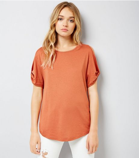 Orange Twist Sleeve Cold Shoulder T-Shirt | New Look