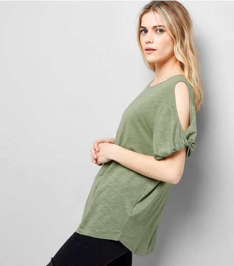 Olive Green Twist Sleeve Cold Shoulder T-Shirt  | New Look