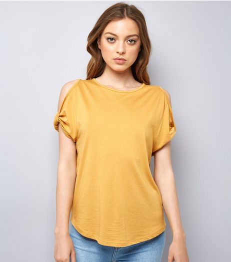 Yellow Twist Sleeve Cold Shoulder T-Shirt | New Look