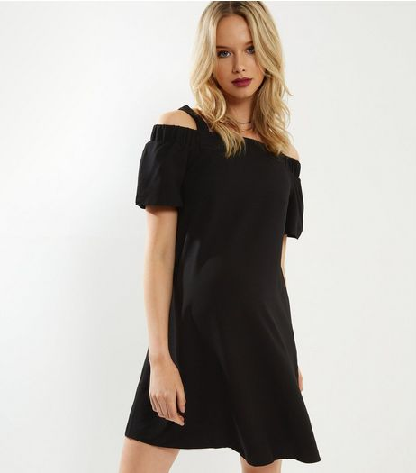 Maternity Black Cold Shoulder Bardot Neck Dress | New Look