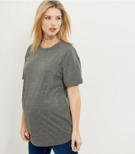 Maternity Grey Rolled Sleeve Boyfriend T-Shirt | New Look