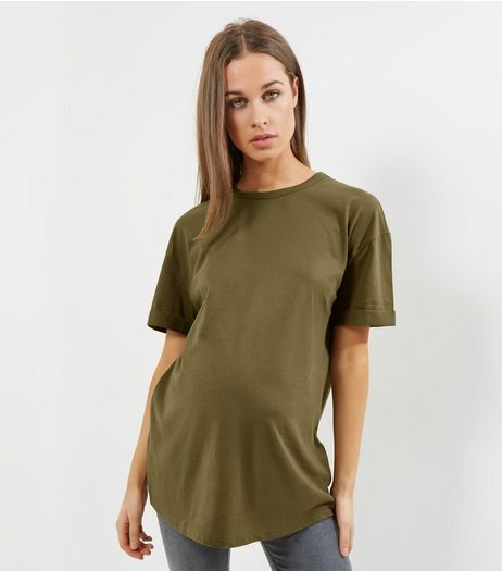 Maternity Olive Green Rolled Sleeve Oversized T-shirt | New Look
