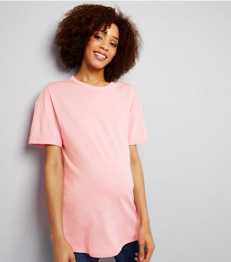 Maternity Pink Rolled Sleeve Oversized T-shirt | New Look