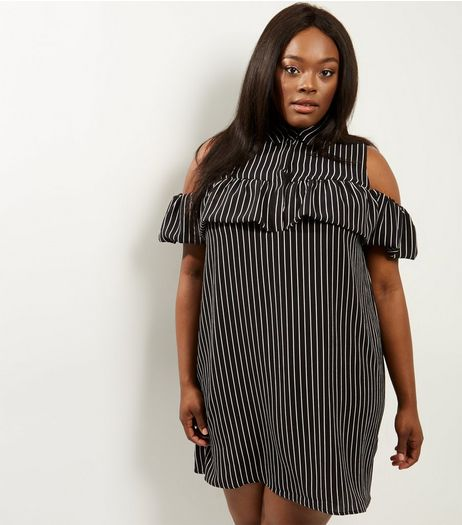 Curves Black Stripe Cold Shoulder Dress | New Look