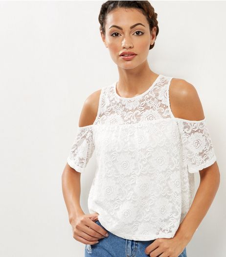Cameo Rose Cream Lace Cold Shoulder High Neck Top | New Look