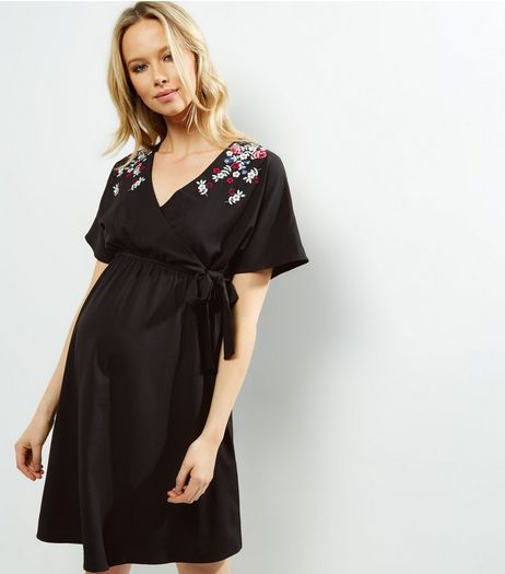 Maternity Black Floral Embroidered Wrap Front Dress | New Look