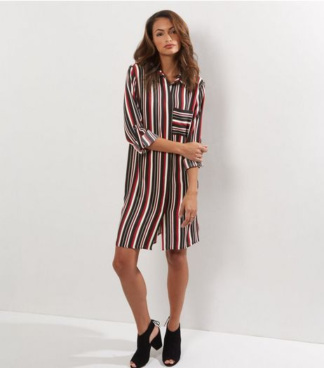 Cameo Rose Red Stripe Print Shirt Dress | New Look