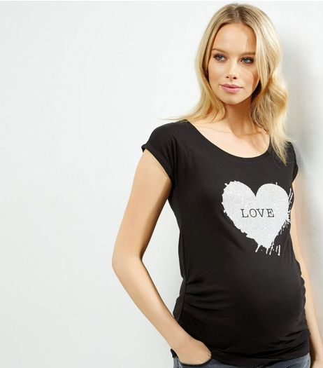 Maternity Black Beaded Heart T-shirt | New Look