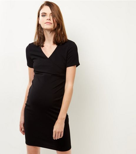 Maternity Black Short Sleeve Wrap Front Dress | New Look