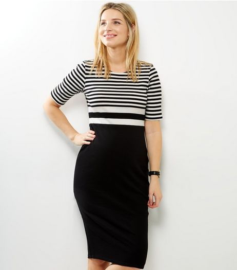 Maternity Black Ribbed Stripe Colour Block Dress  | New Look