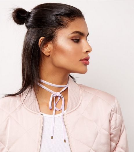 Pink Velvet Layered Bow Choker  | New Look
