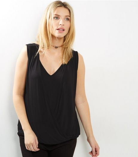 Maternity Black Sleeveless Wrap Front Nursing Top | New Look