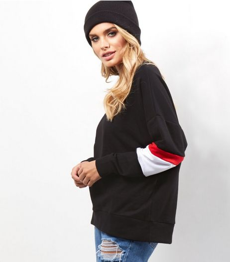 Black Colour Block Balloon Sleeve Sweater  | New Look