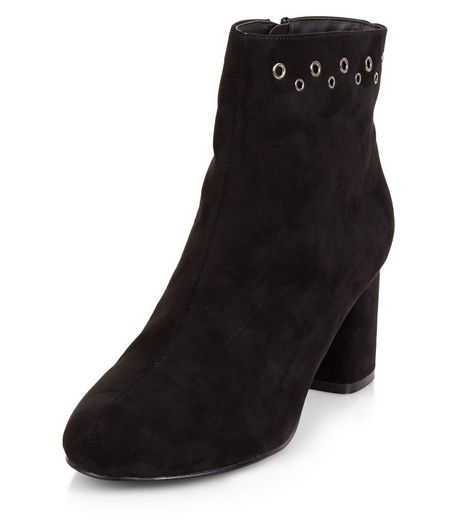 Teens Black Suedette Eyelet Ankle Boots | New Look