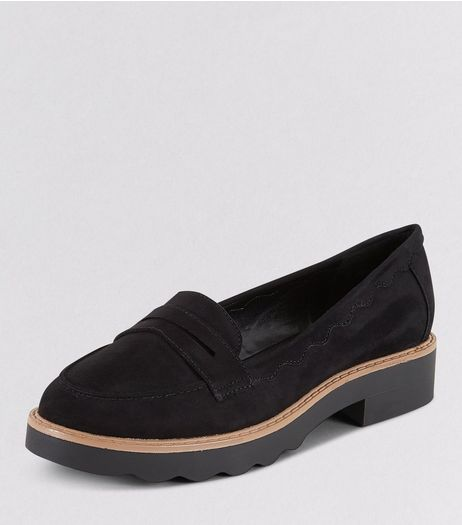 Teens Black Suedette Contrast Trim Loafers | New Look