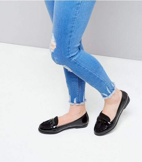 Teens Black Patent Tassel Front Loafers | New Look