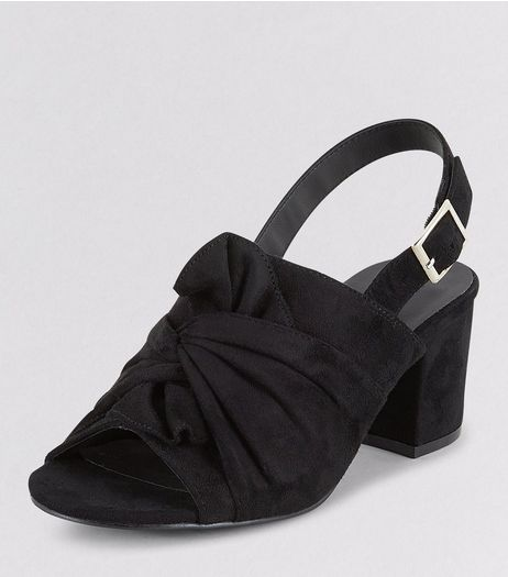 Teens Black Suedette Bow Front Sling Back Heels | New Look