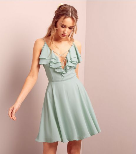 Mint Green Frill Trim Cross Strap Skater Dress | New Look