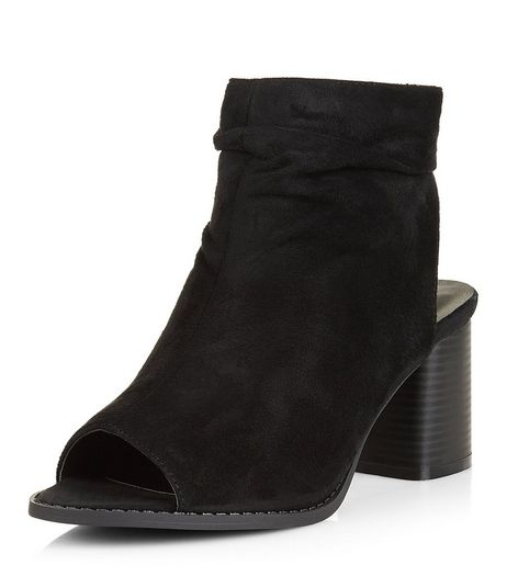Teens Black Suedette Peep Toe Ankle Boots | New Look