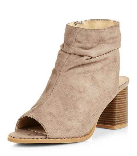 Teens Light Brown Suedette Peep Toe Ankle Boots | New Look