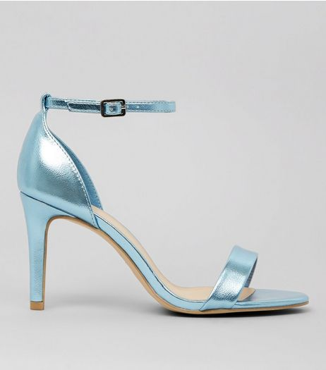 Wide Fit Blue Metallic Ankle Strap Heels | New Look