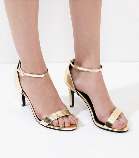 Wide Fit Gold Metallic Ankle Strap Heels | New Look