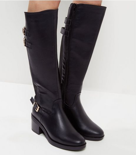 Wide Fit Black Double Buckle Strap Riding Boots | New Look