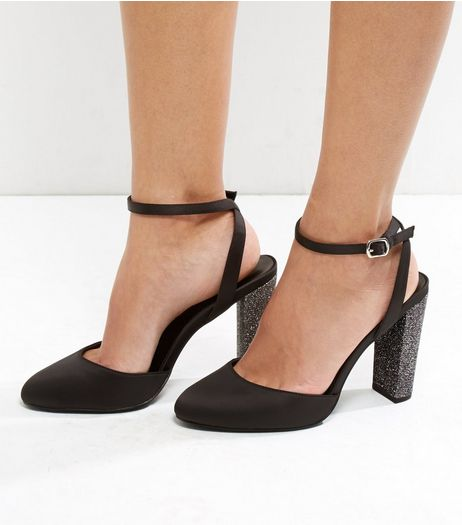 Wide Fit Black Sateen Glitter Block Heels | New Look