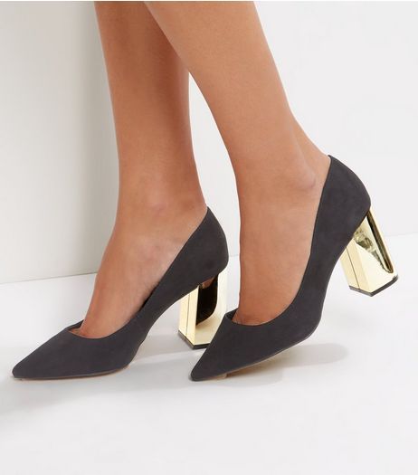 Wide Fit Black Suedette Metal Heel Pointed Court Shoes | New Look