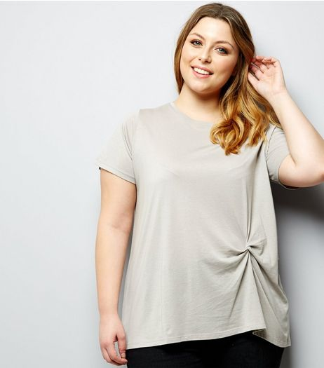 Curves Cream Twist Front T-Shirt | New Look