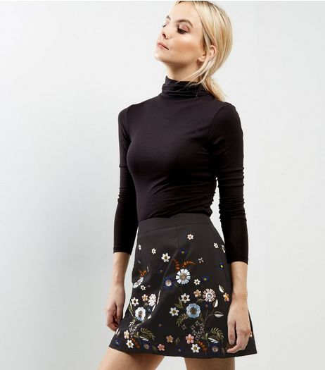 Petite Black Floral Embroidered A-Line Skirt | New Look