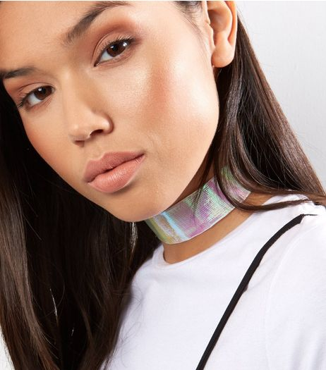 Silver Holographic Wide Choker | New Look