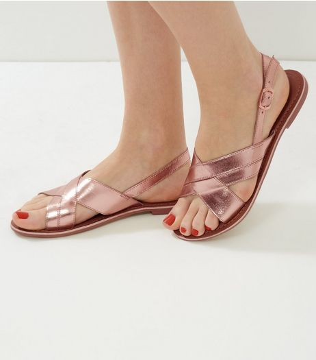 Rose Gold Leather Cross Strap Sling Back Sandals | New Look