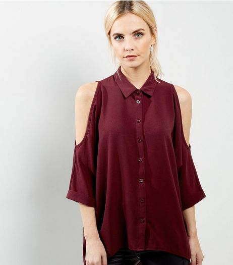 Petite Burgundy Cold Shoulder Dip Hem Shirt | New Look
