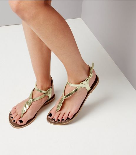 Gold Leather Metallic Twist Toe Post Sandals | New Look