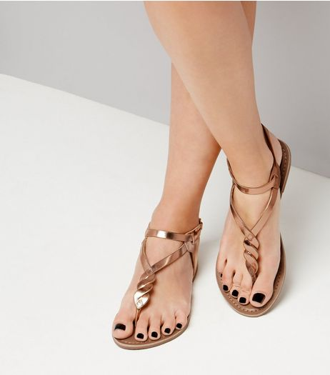 Rose Gold Leather Metallic Twist Toe Post Sandals | New Look