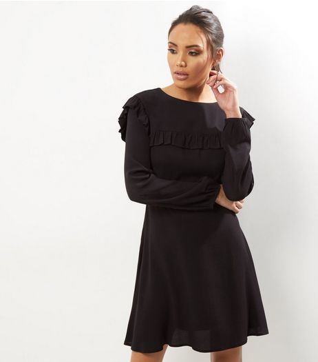 Black Ribbed Frill Trim Long Sleeve Skater Dress | New Look