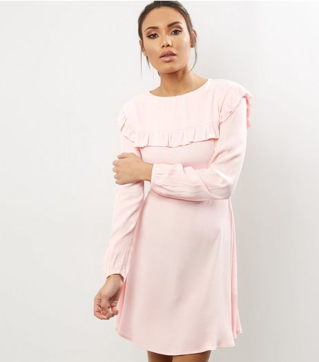 Mid Pink Frill Trim Long Sleeve Skater Dress | New Look