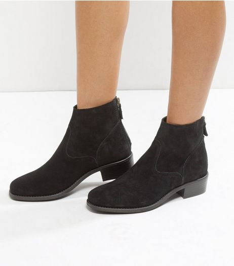 Wide Fit Black Suede Zip Back Boots | New Look