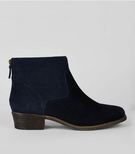 Wide Fit Navy Suede Ankle Boots | New Look