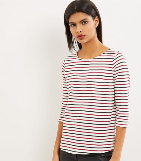 Petite White Stripe 3/4 Sleeve T-Shirt  | New Look