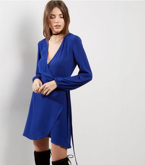 Blue Wrap Front Long Sleeve Dress | New Look