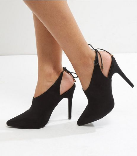Black Suedette Tie Back Pointed Heels | New Look