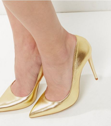 Gold Leather Pointed Court Shoes | New Look